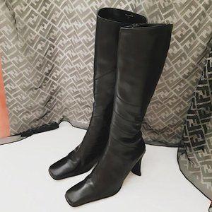 """ALDO Black Leather Knee High Women's Boots 3"""" Heel"""